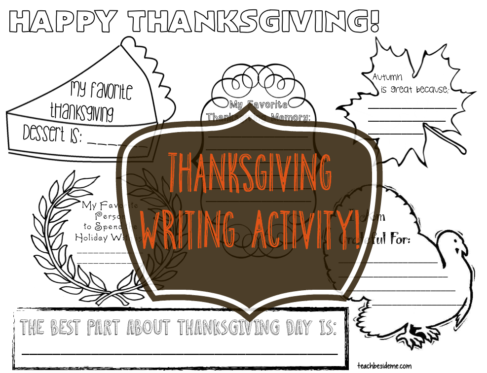 Printable Thanksgiving Writing Activity