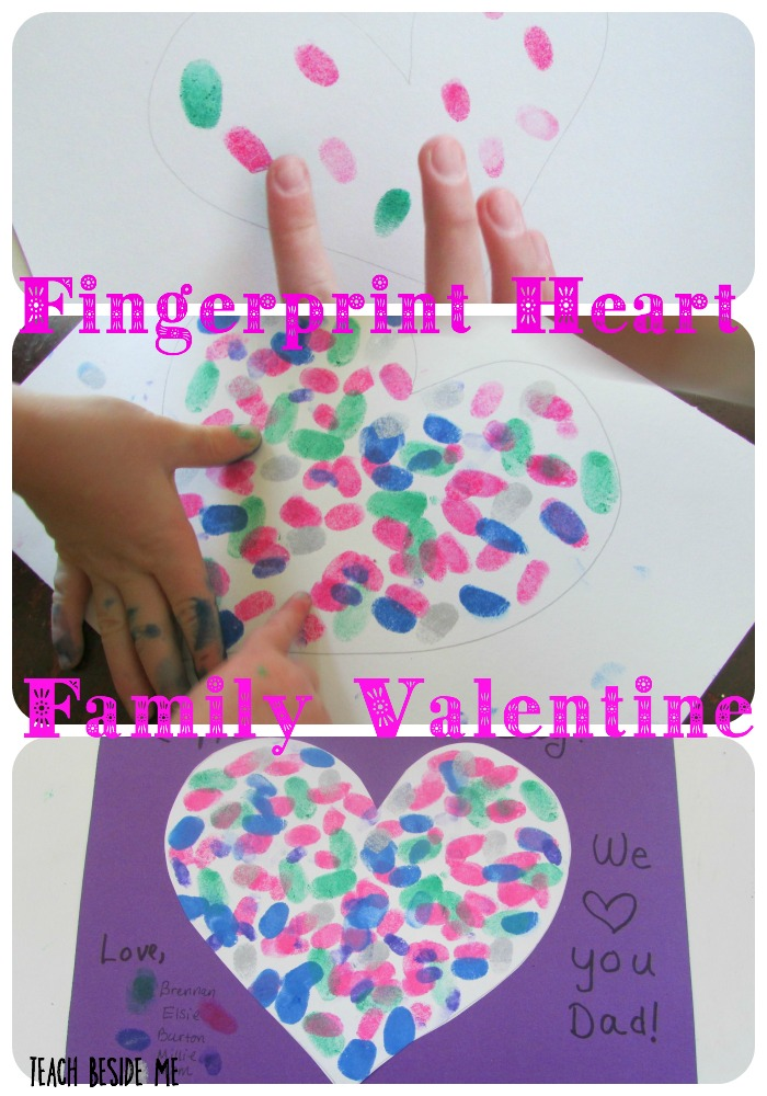 Fingerprint Heart Family Valentine from Teach Beside Me