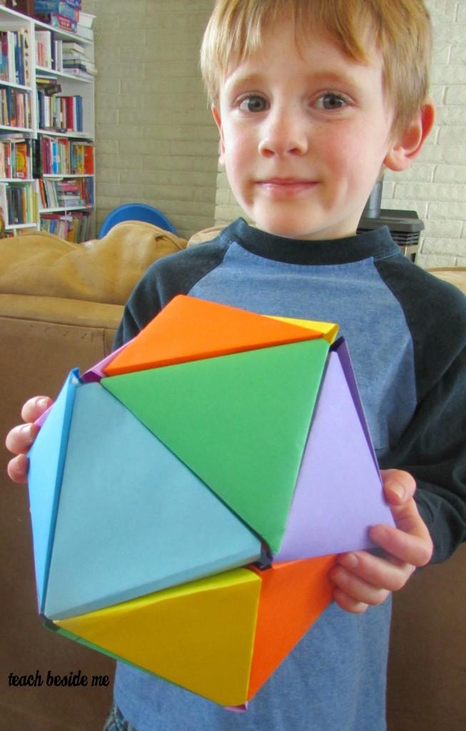 rainbow icosahedron paper ball