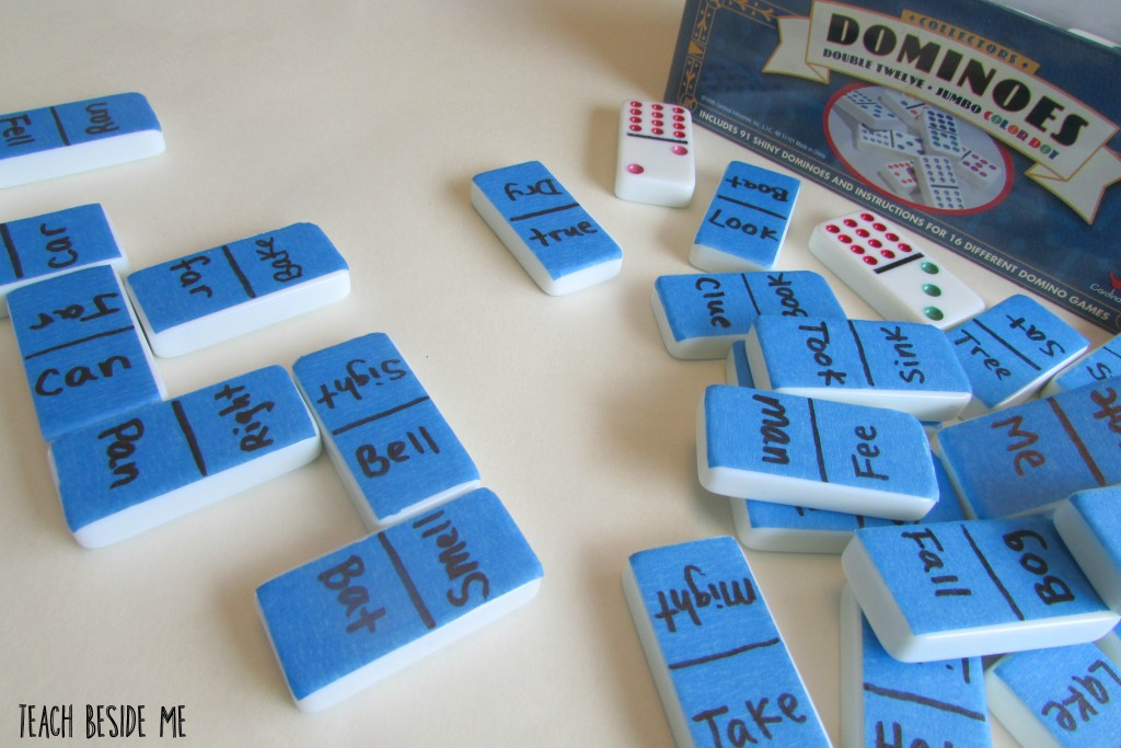 rhyming words on the back of dominoes