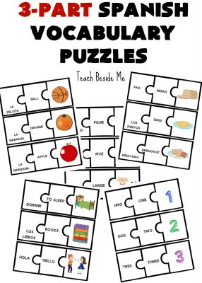 3-part Spanish Vocabulary Puzzles