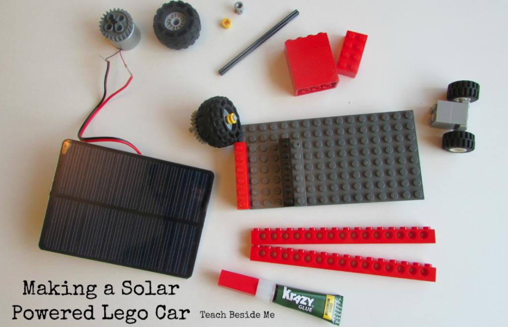 Parts for making a solar powered Lego Car