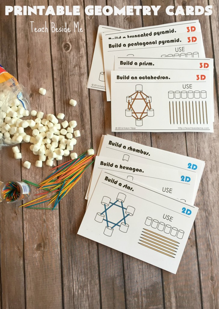 Printable Marshmallow and Toothpick Geometry Cards