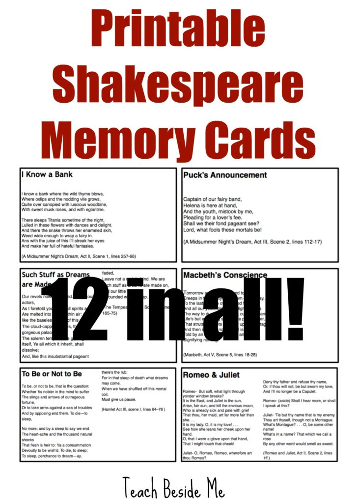 Shakespeare Memorization Cards