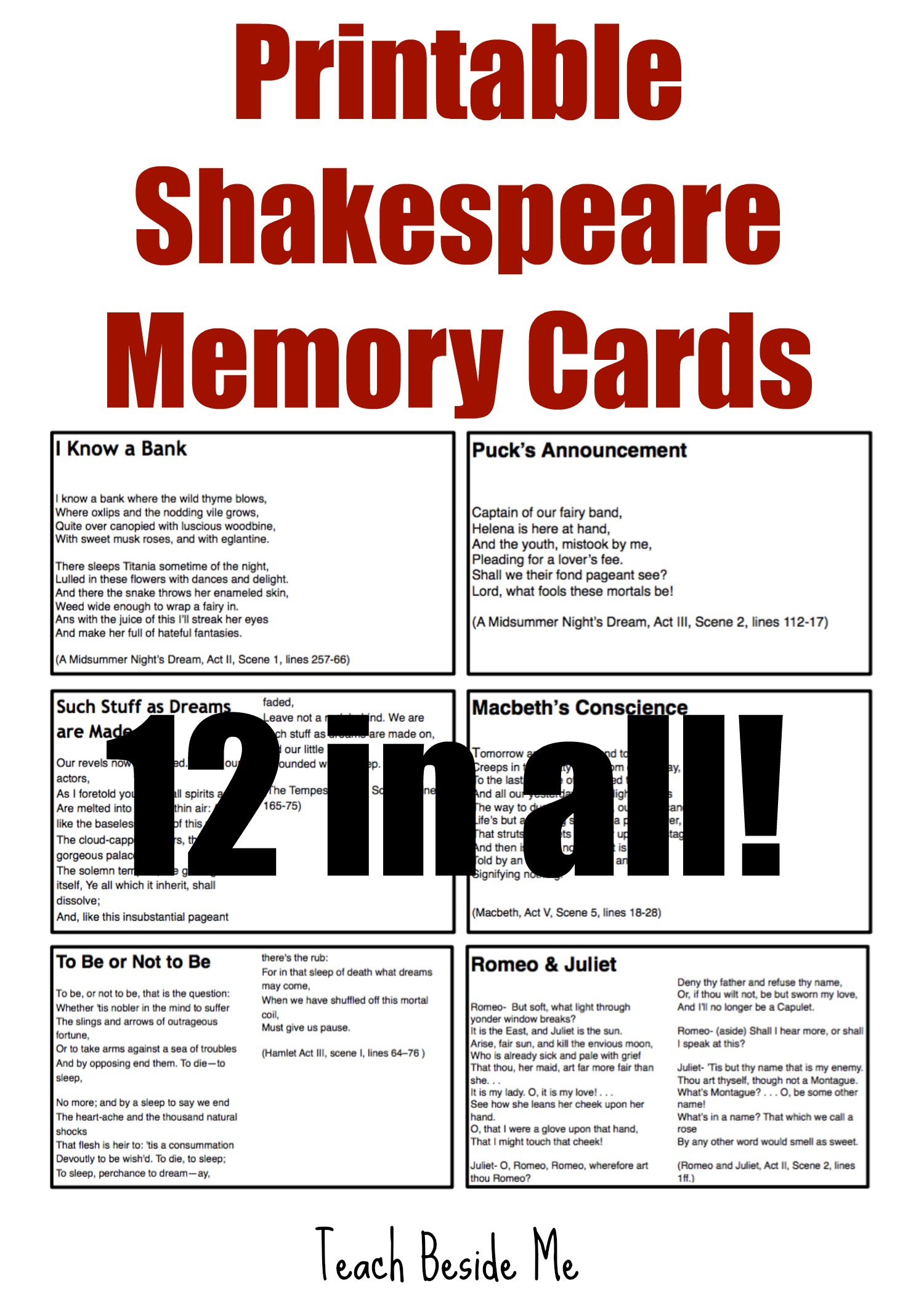 $ Shakespeare Memory Cards