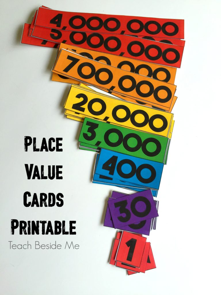 place value cards printable set