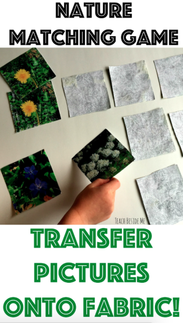 Nature Matching Game with fabric transfer prints