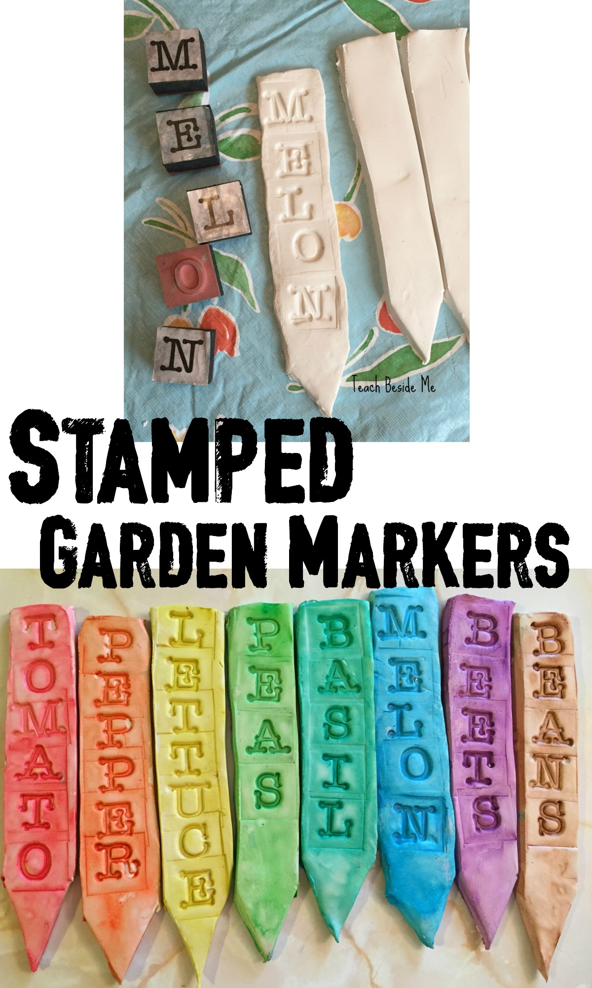 Clay Stamped Garden Markers Teach Beside Me