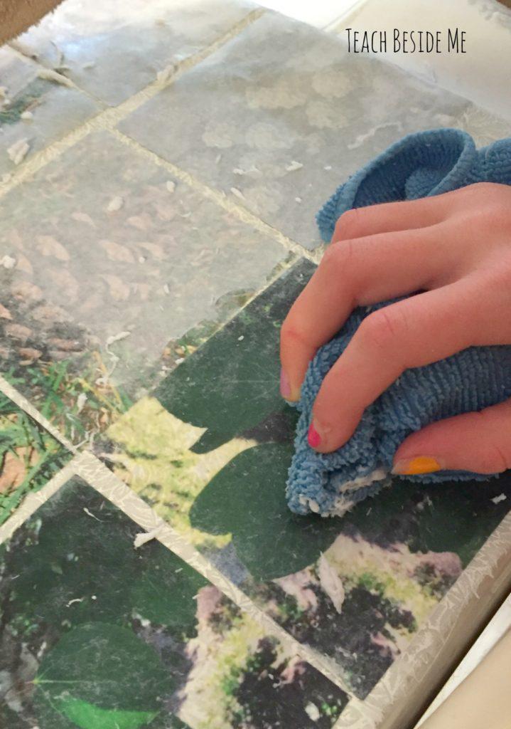 fabric image transfer- rubbing off paper