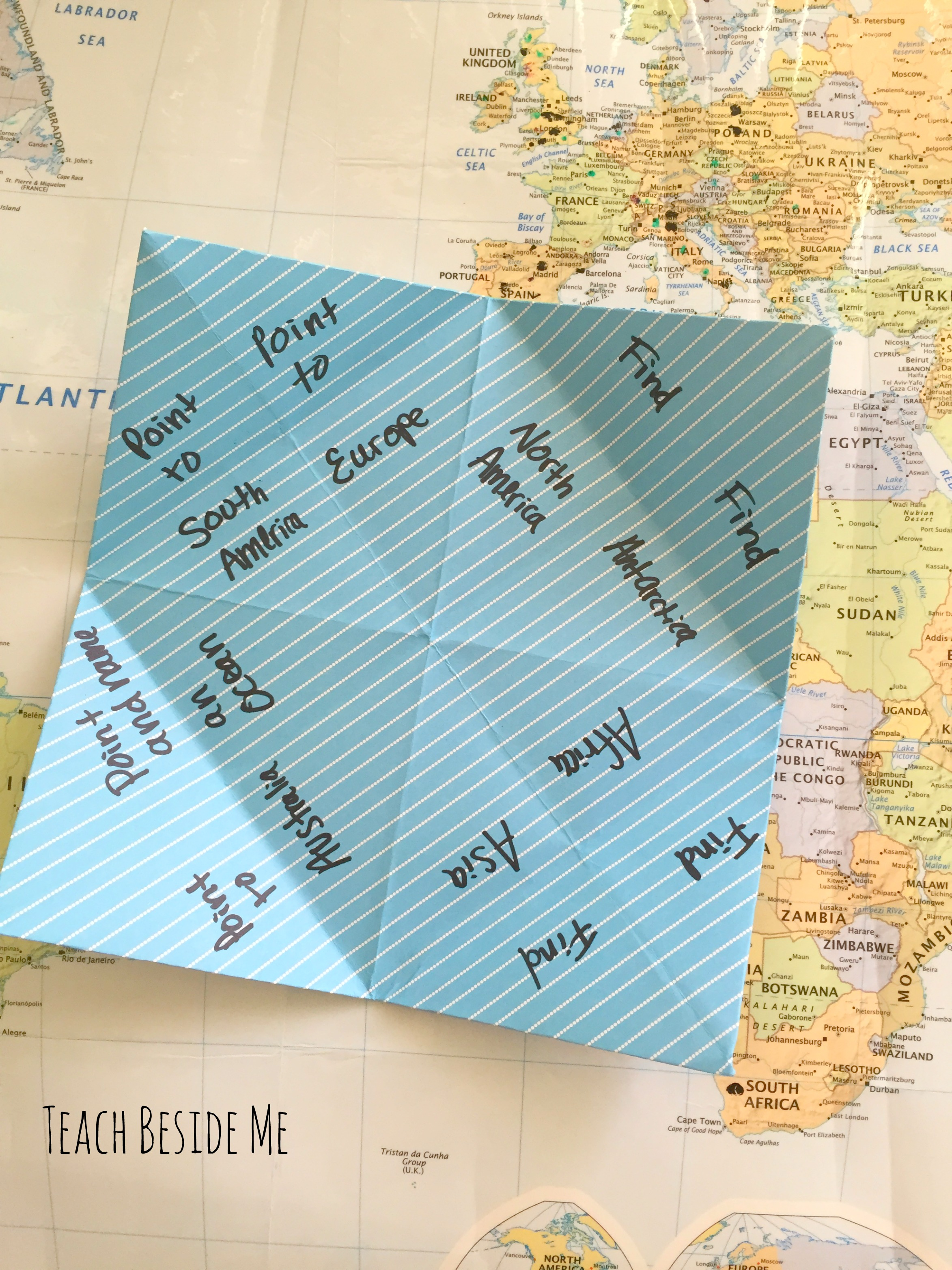 geography game- cootie catcher