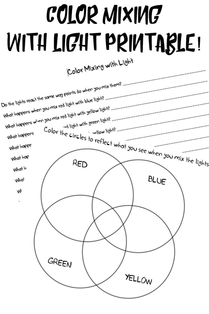 Printable color mixing with light experiment worksheets
