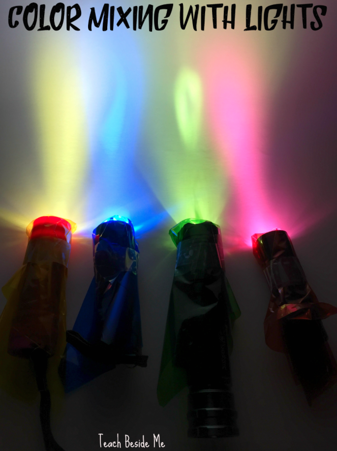 color mixing experiment with flashlights