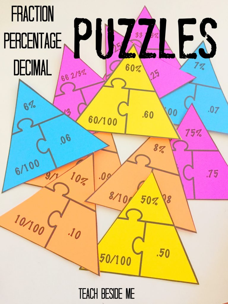 $ Fraction-Decimal-Percentage Puzzles