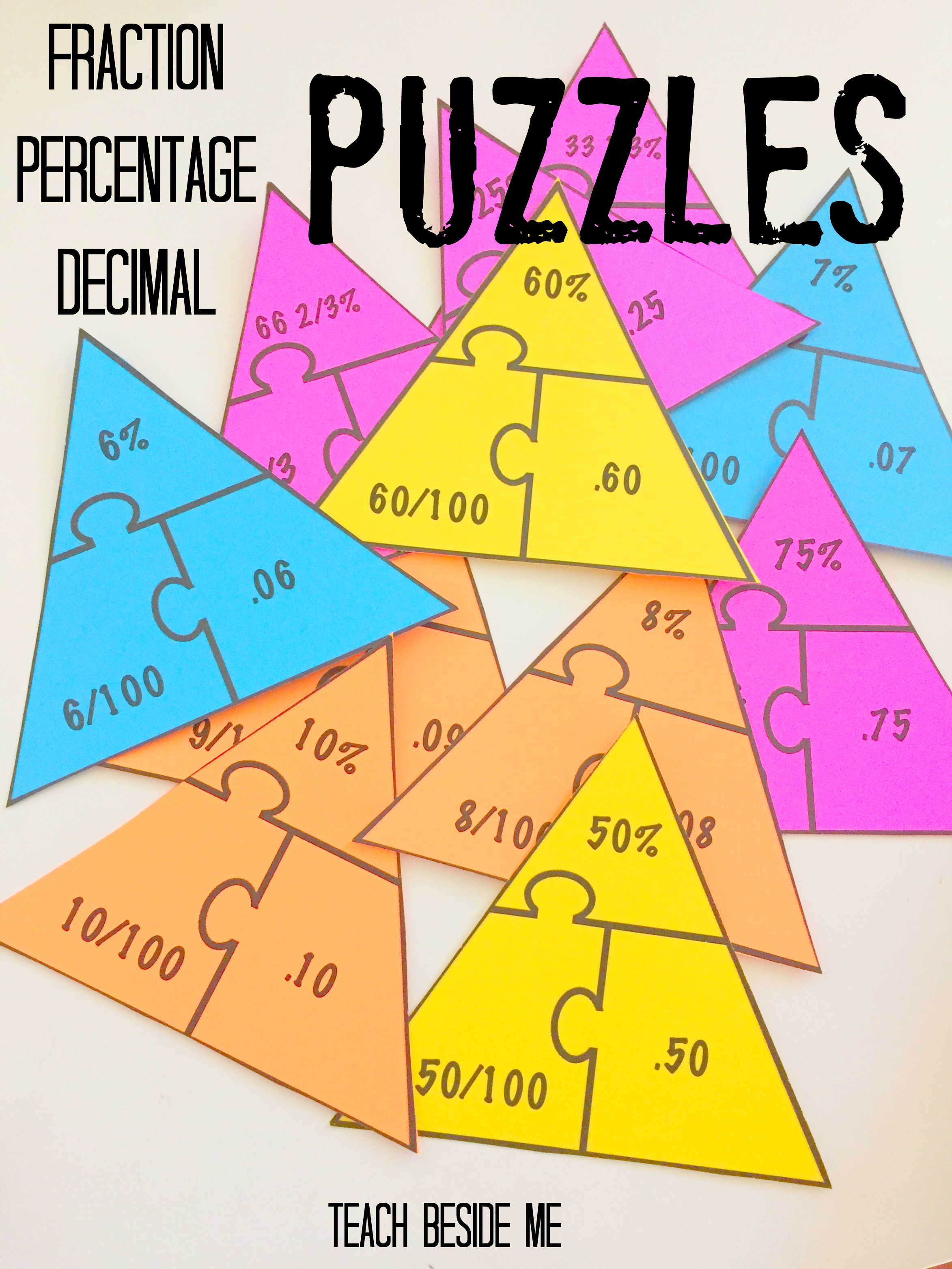 Fraction – Percentage – Decimal Math Puzzles