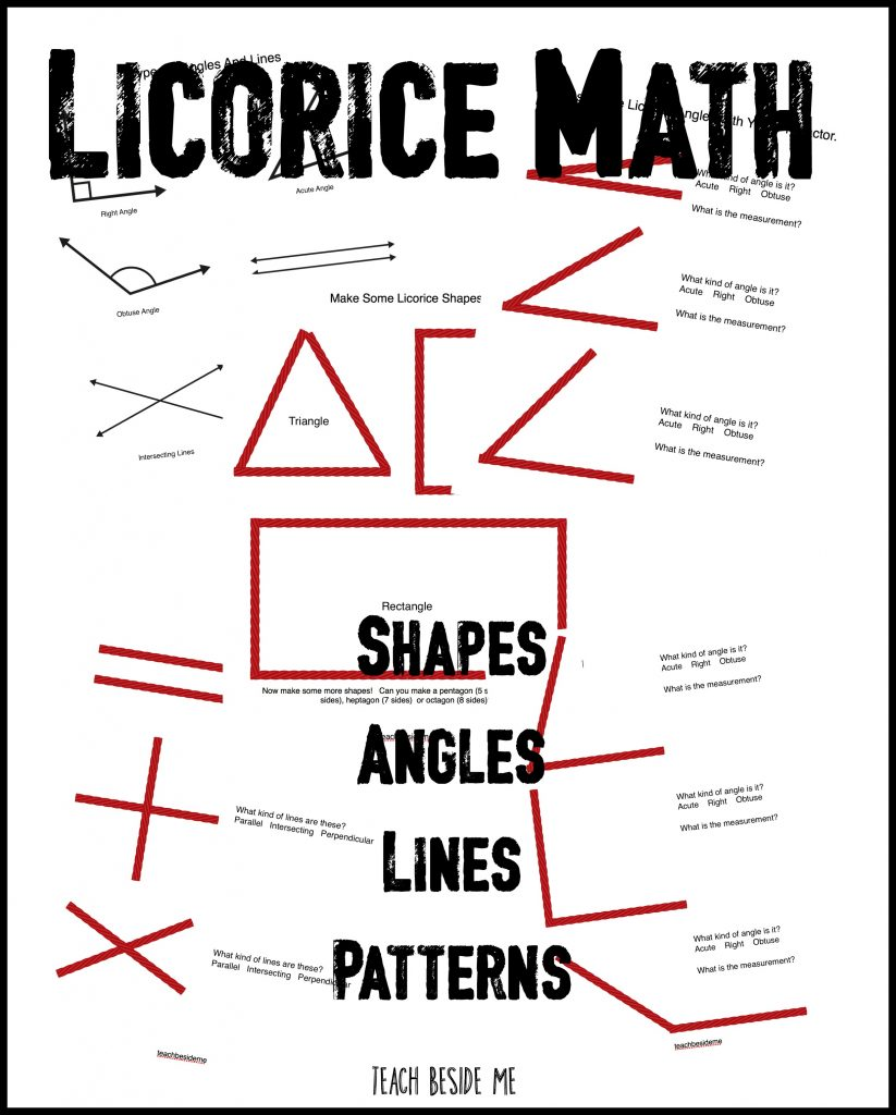 Licorice Math Printable set- shapes angles lines patterns