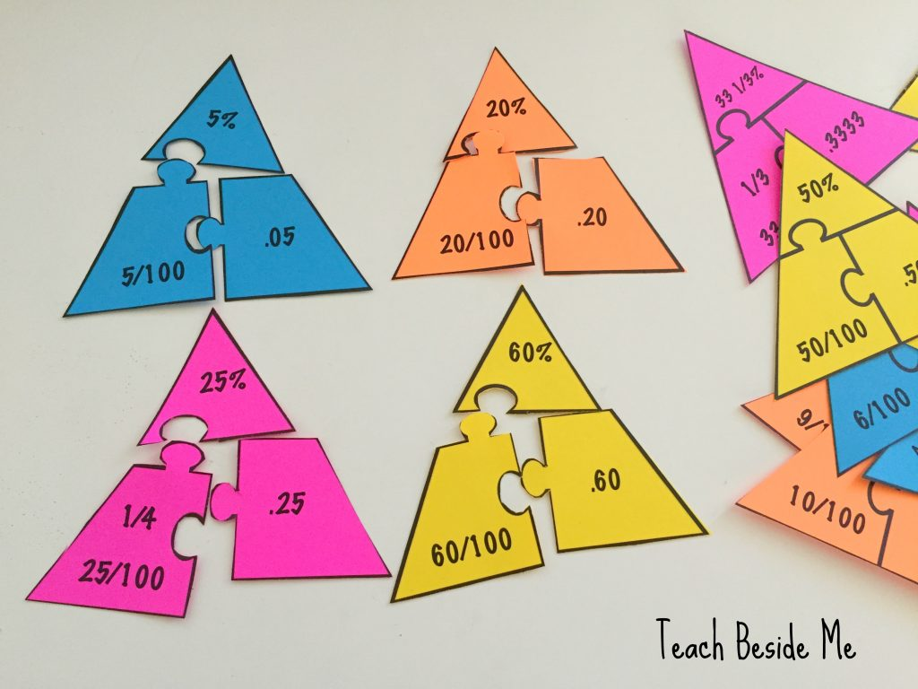 Fraction- Percentage- Decimal math puzzles