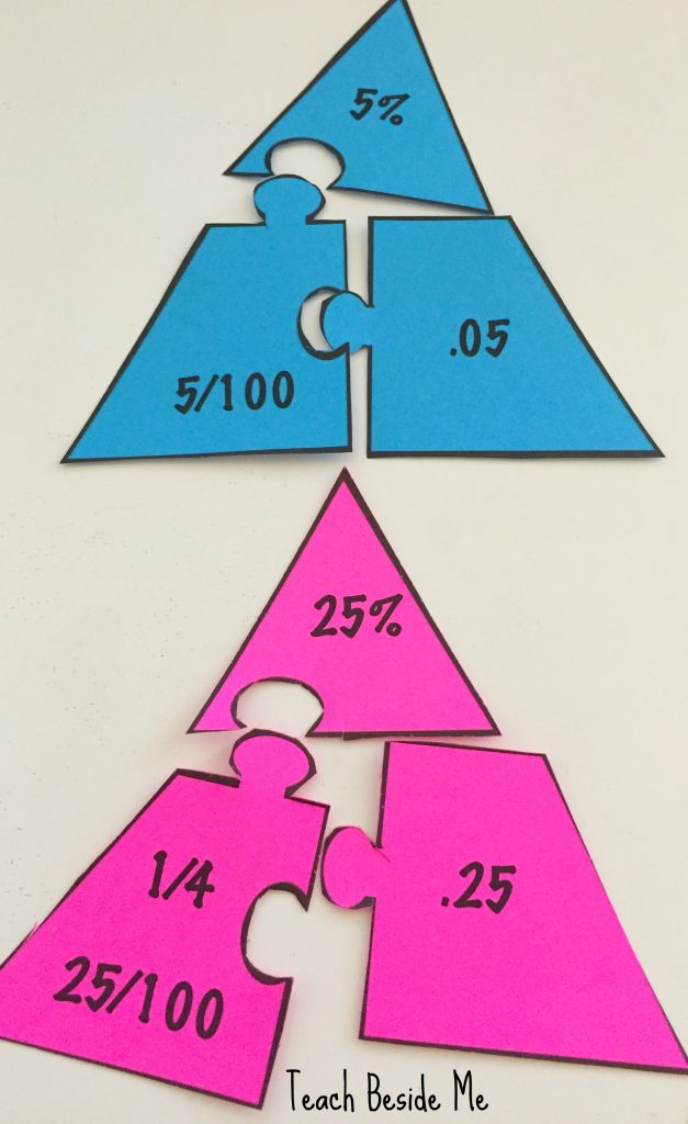 math puzzles to teach equivalents of fractions decimals and percentages