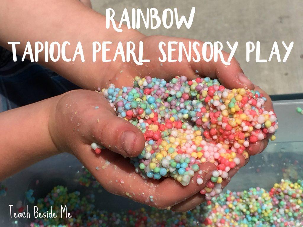 rainbow tapioca pearl sensory play
