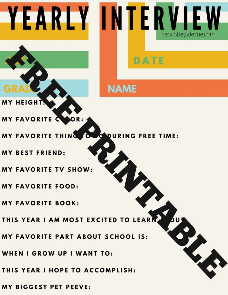 Free Printable Yearly Interview for Kids
