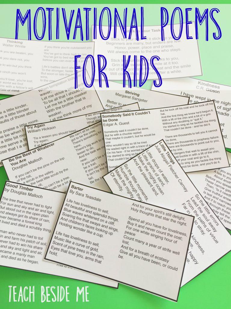 Motivational Poems for Kids to Memorize – Teach Beside Me