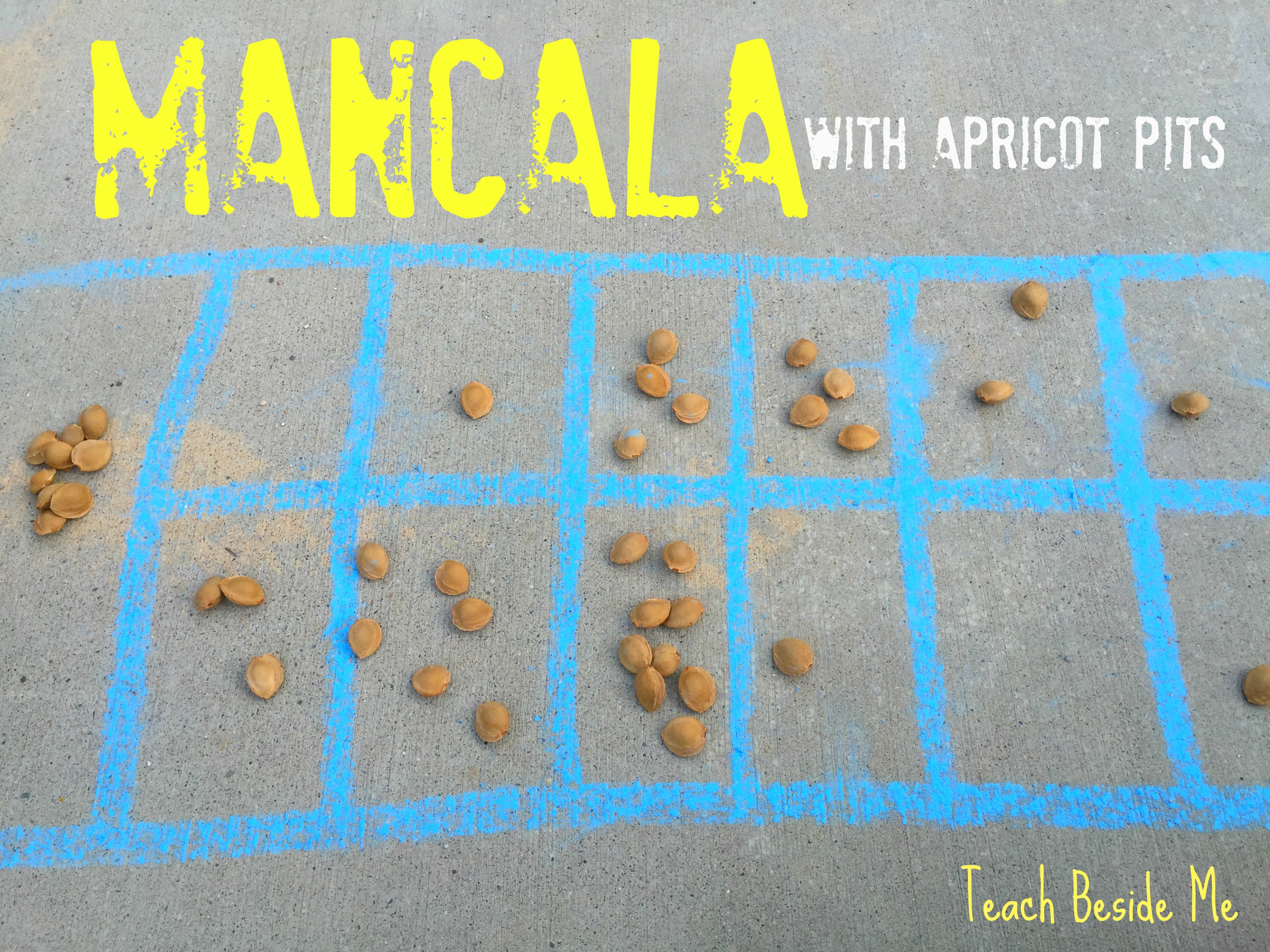 Sidewalk Chalk Mancala with Apricot Pits, Ethiopia Unit