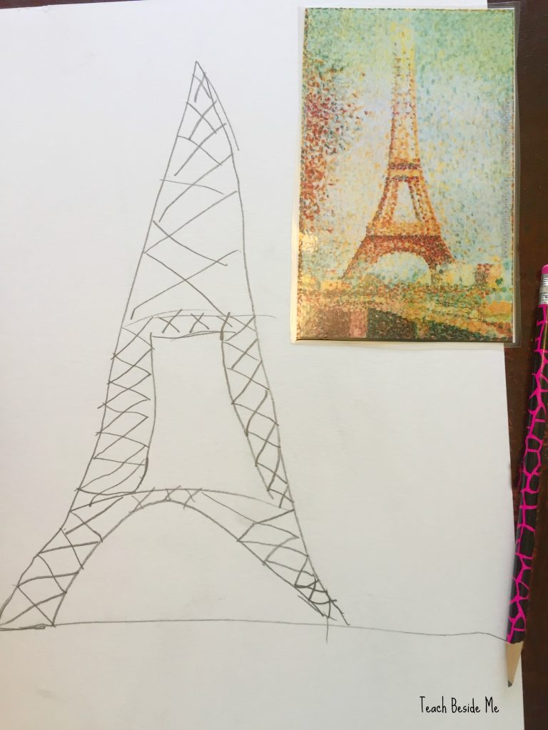 Seurat eiffel tower art project