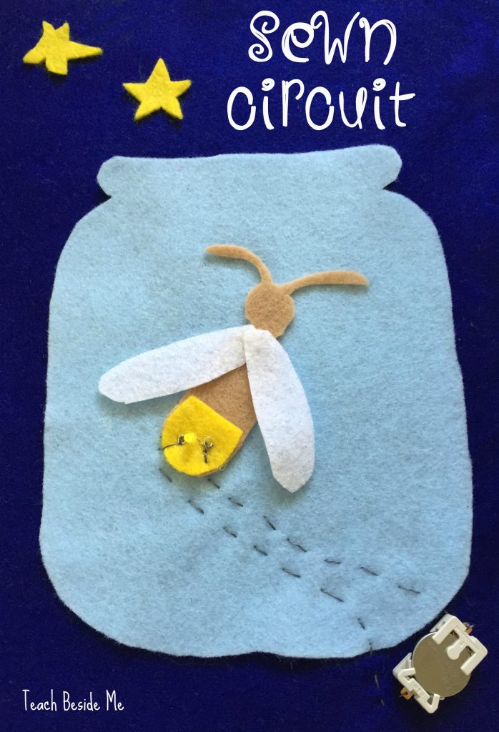 Sewn circuit firefly craft- STEAM project for kids