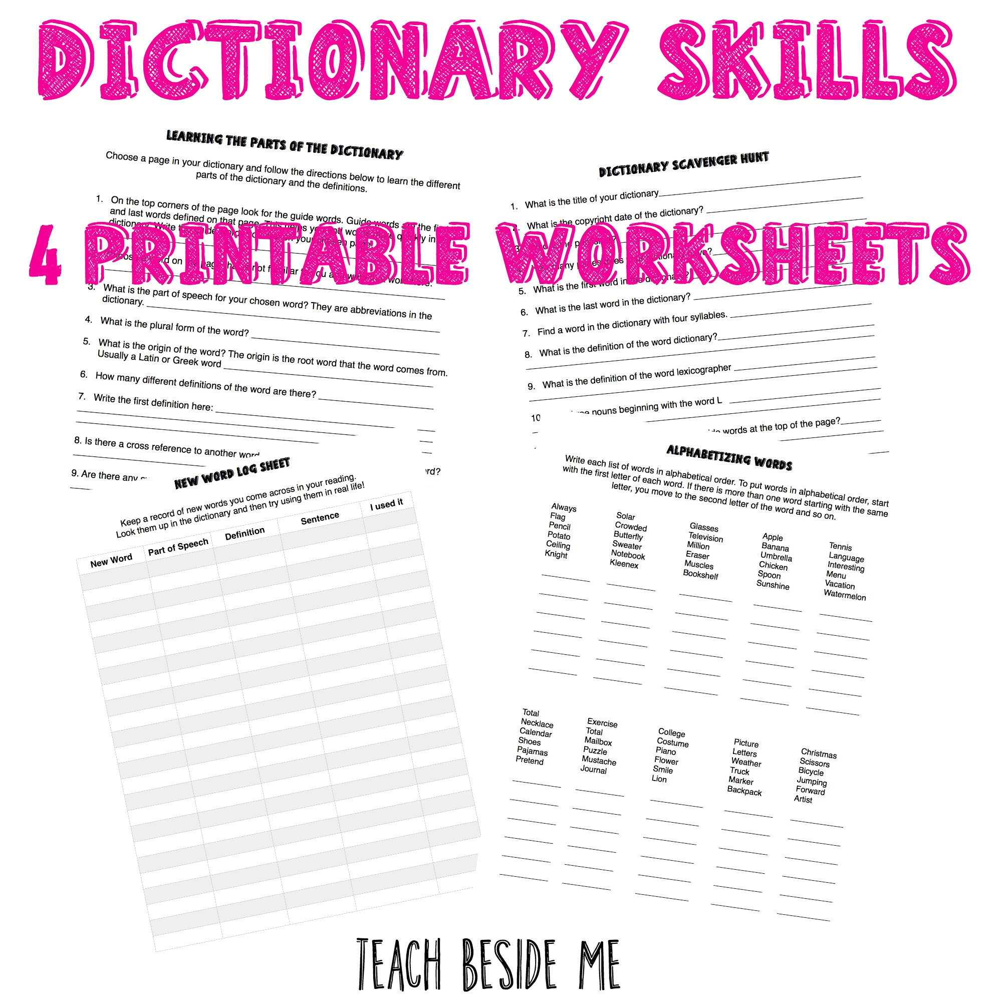 Worksheets Dictionary Worksheets dictionary skills worksheets teach beside me worksheets