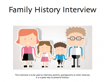 Family History Interview for Parents & Grandparents