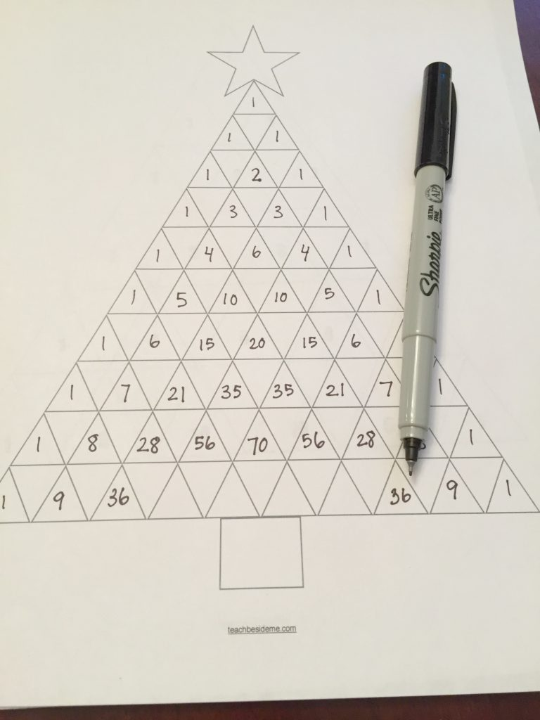 Pascal's Triangle Christmas Tree Math - Teach Beside Me