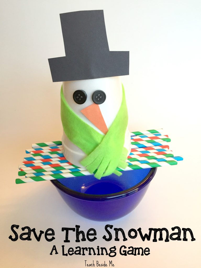 Save the Snowman- a Learning Game. Balance it on straws and pull them out one at a time answering question on straw