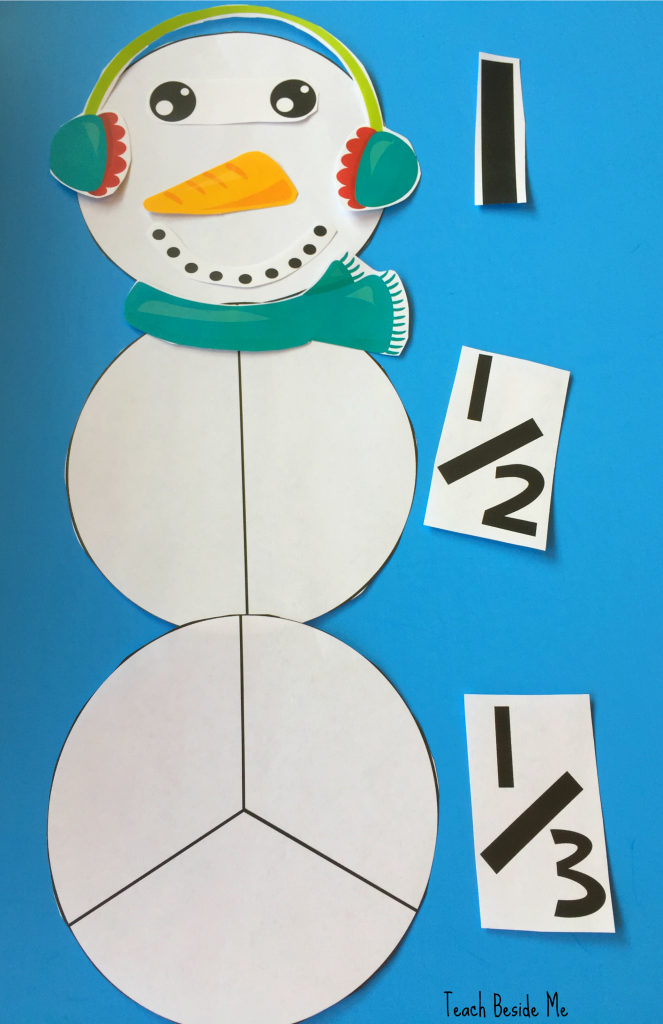 Learning Fractions Winter Math Snowman Fractions Teach