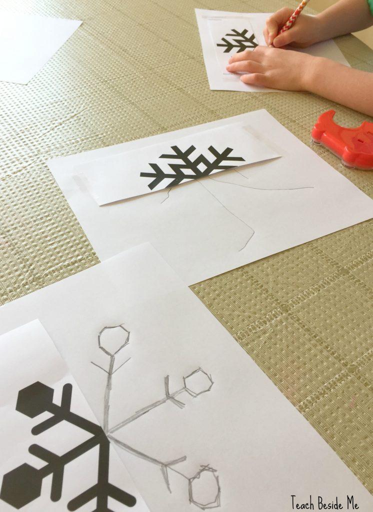 symmetrical snowflake drawings