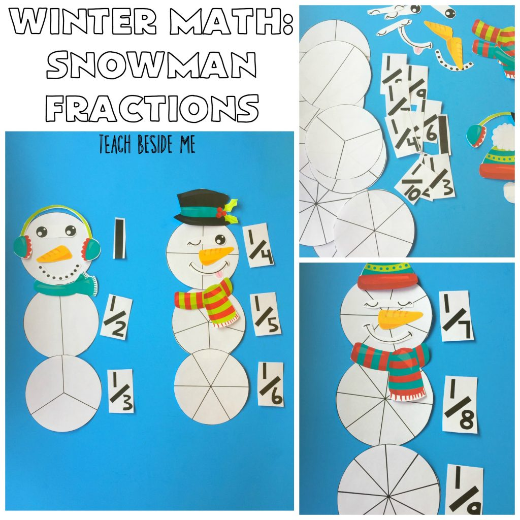 Winter Math Snowman Fraction Printable set