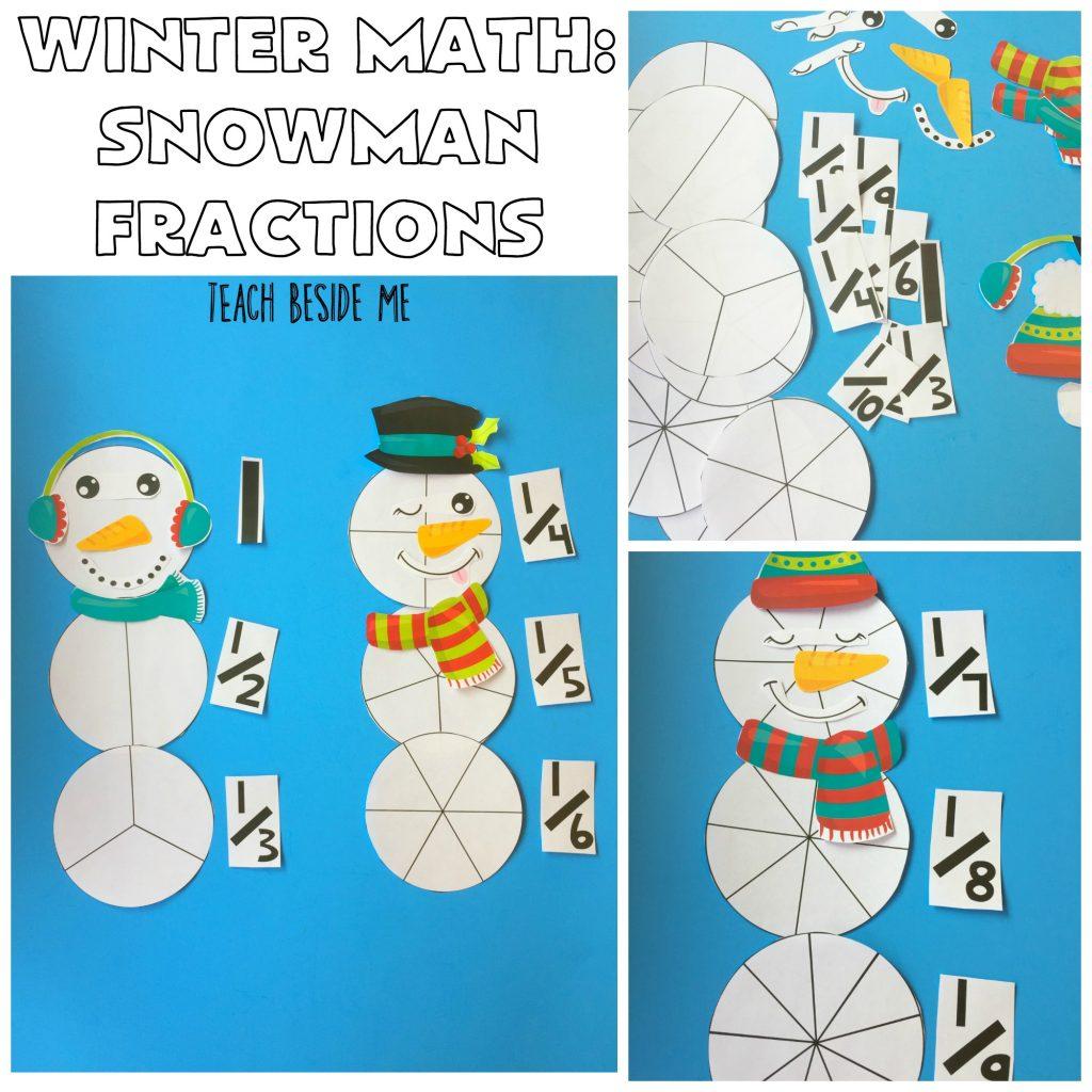 Winter Math Snowman Fraction Printable set