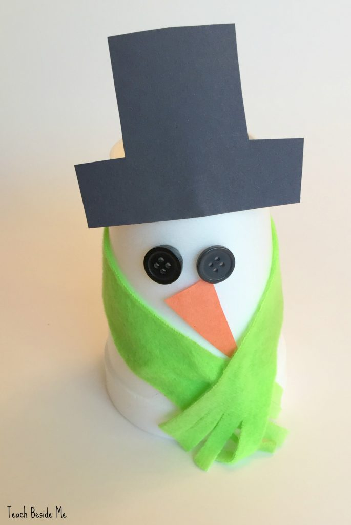Easy snowman cup craft