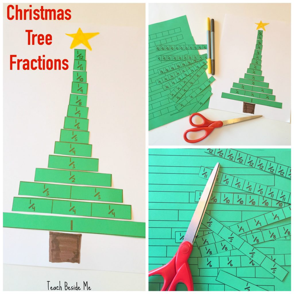 Christmas Tree Fractions Printable Activity – Teach Beside Me