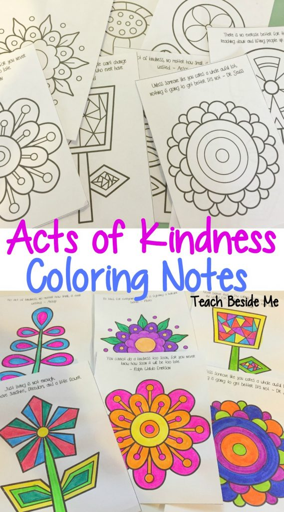Random acts of kindness coloring notes for kids teach Coloring book note 8