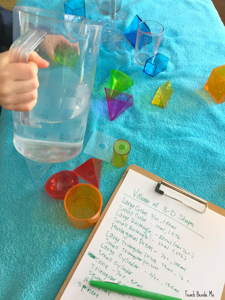 measuring volume of 3-d shapes with water