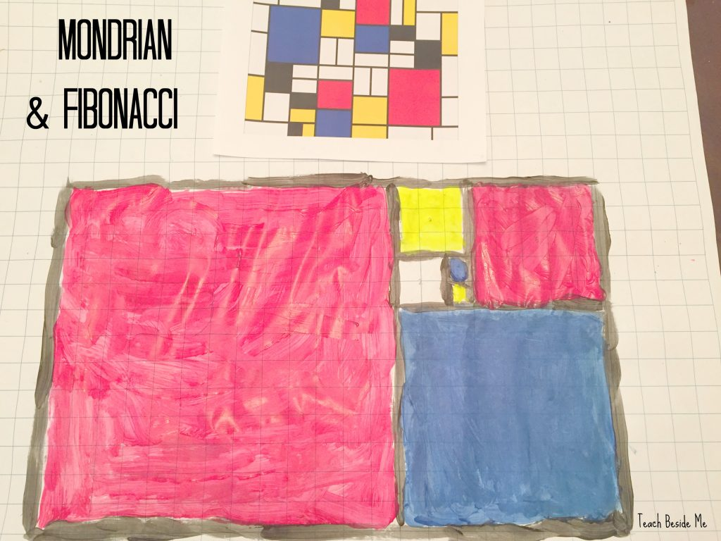 mondrian an fibonacci art- golden rectangle