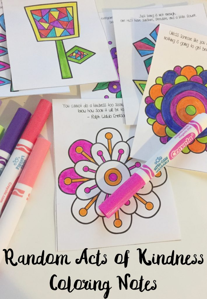Random Acts of Kindness Coloring Notes