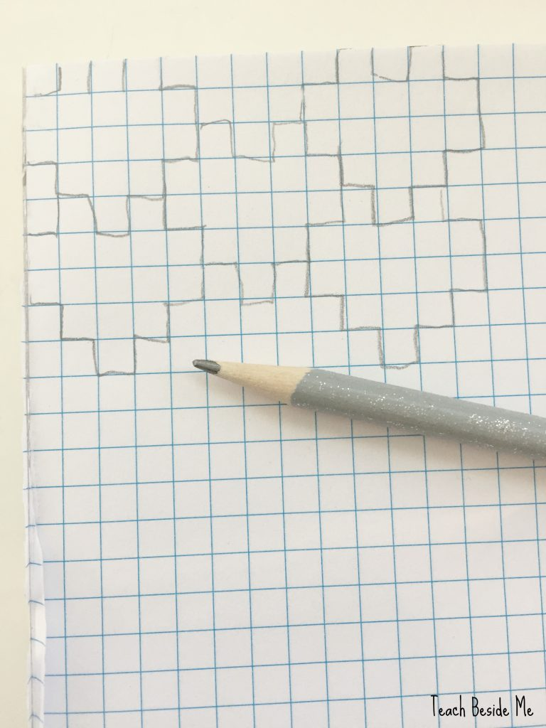 heart tessellation on graph paper