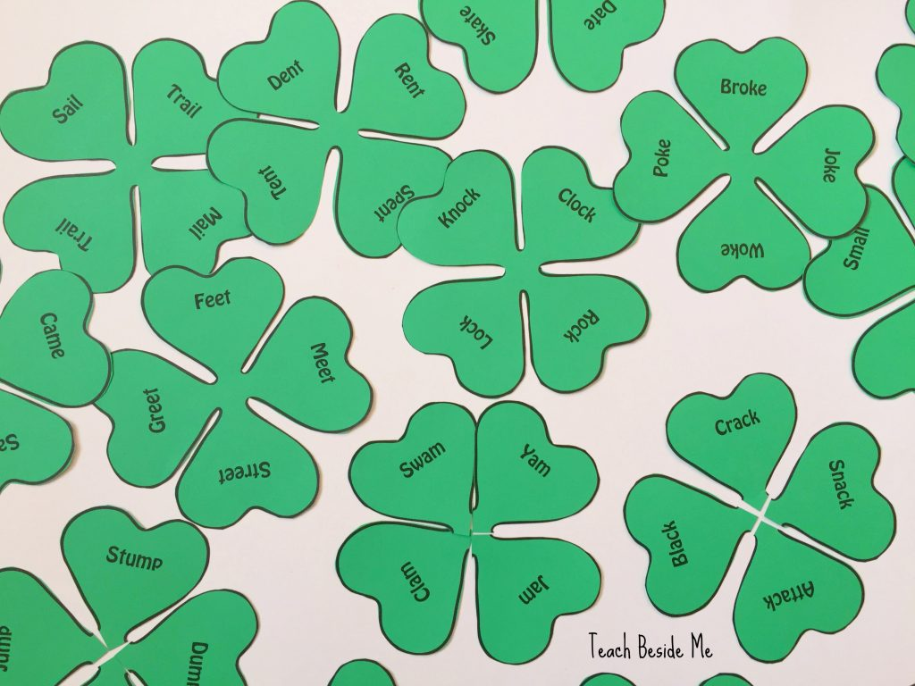 St Patricks day learning idea- clover word families