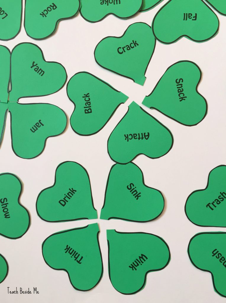 Clover word families matching game for st patricks day