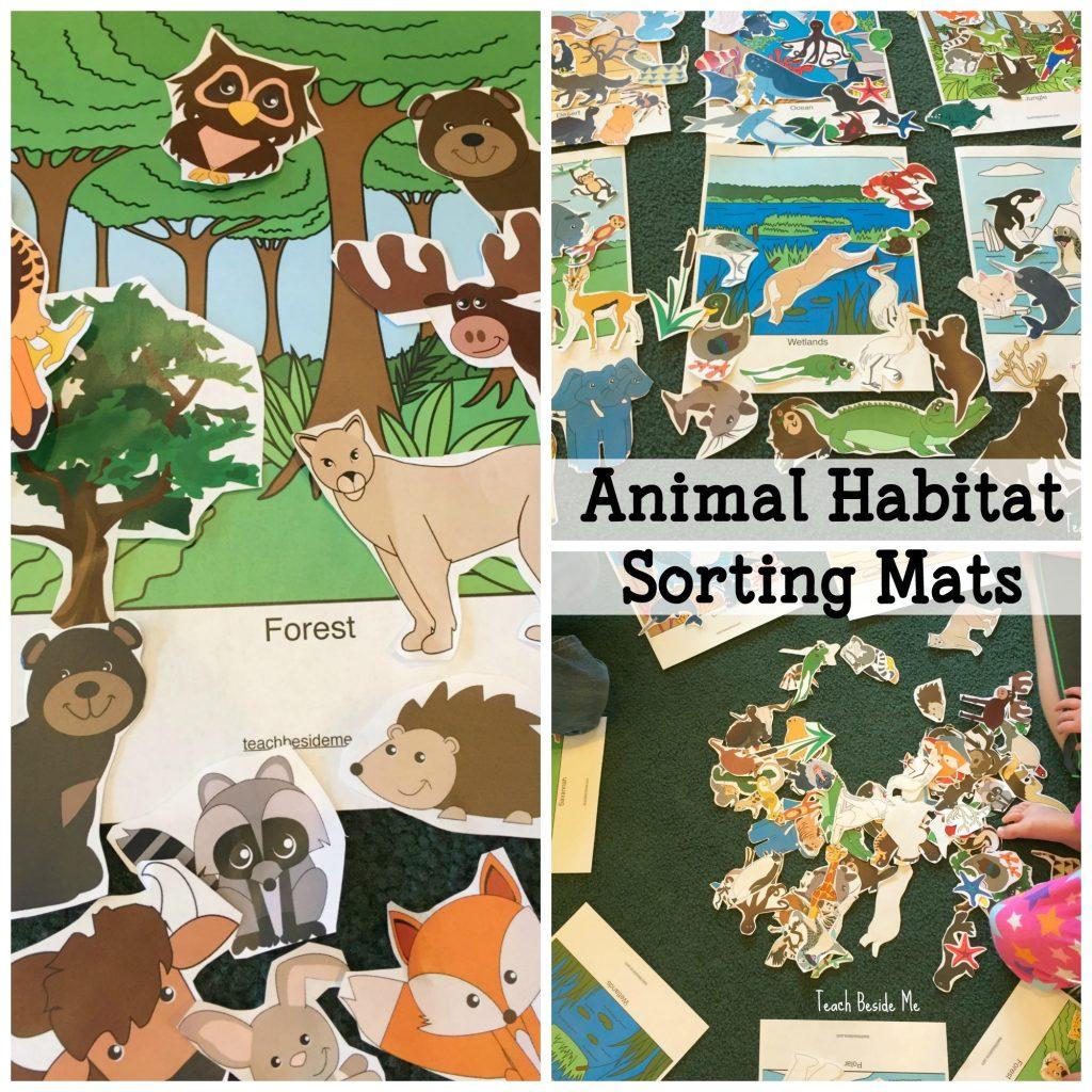 Animal Habitats sorting mats for kids