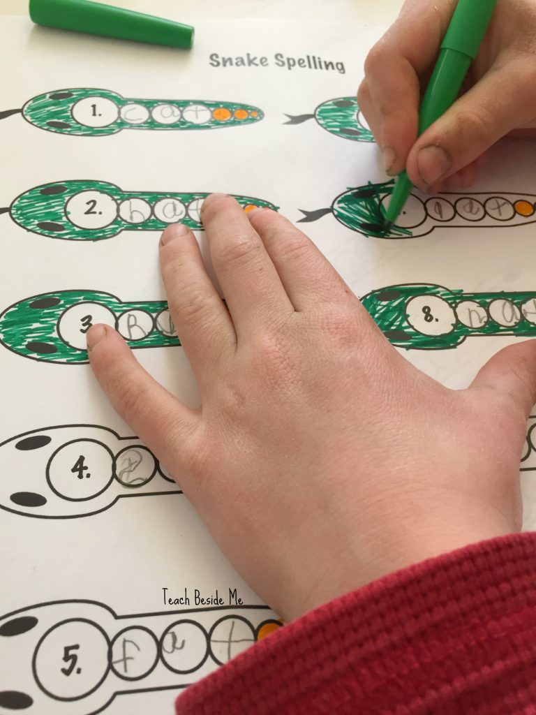 Snake Spelling- coloring
