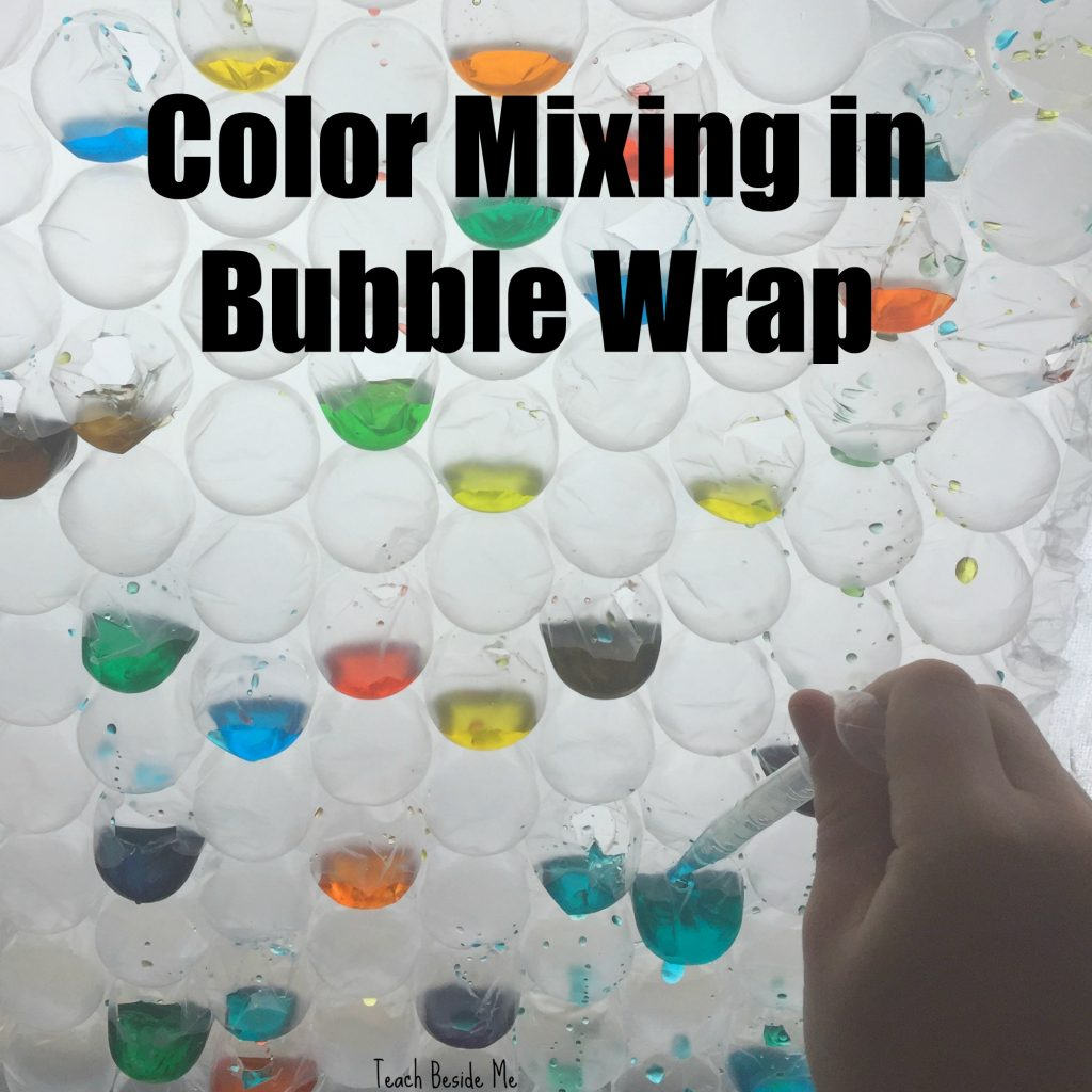 eye dropper color mixing in bubble wrap