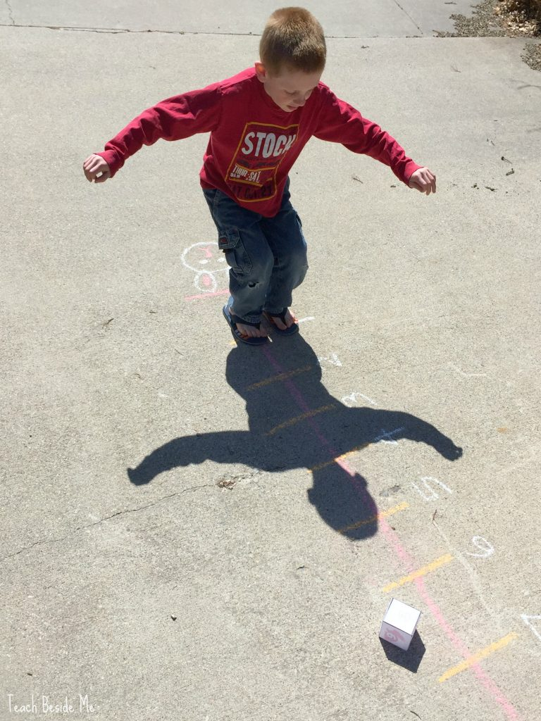 Spring number line game- with sidewalk chalk