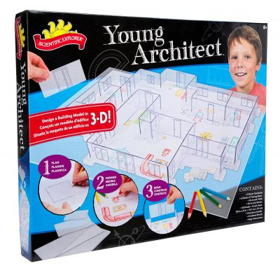 young architect building kit