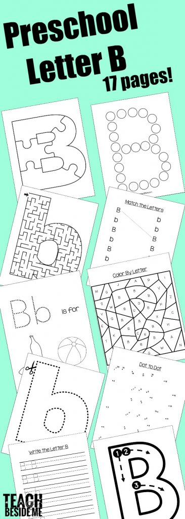 Preschool Letter B Activity Pack Teach Beside Me